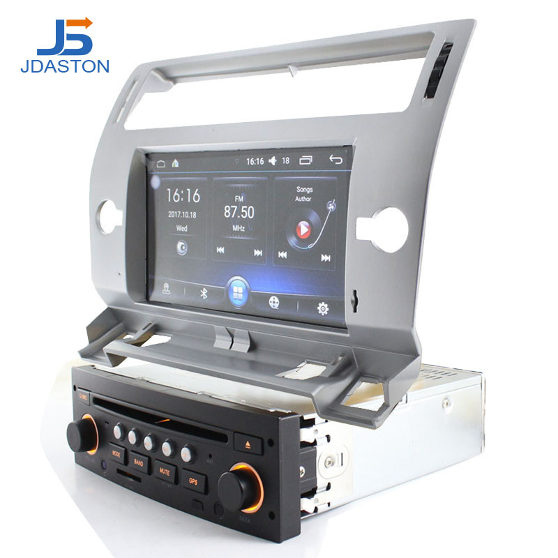 JDASTON 1 Din Android 6.0 Car DVD Player GPS Navigation For Citroen C4 Quatre Triumph 2004 2012 Car Multimedia Radio WIFI Audio