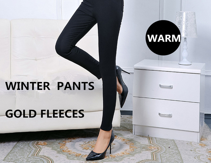 WKOUD Winter Warme Leggings Frauen Schwarz Hohe Taille Gold Fleece-bleistift-hosen Solide Verdickung Gesäßtaschen Fitness Leggings P8061