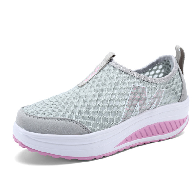 b3e3786eb5a5 New Women s Shoes Casual Sport Fashion Shoes Walking Flats Height  Increasing Women Loafers Breathable Air Mesh Swing Wedges Shoe