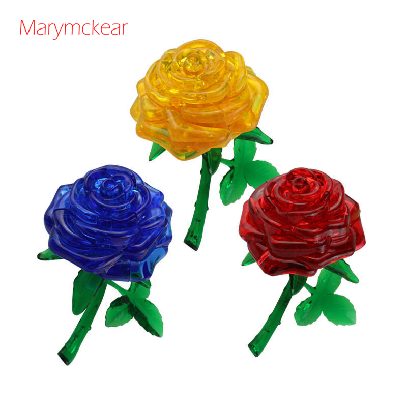 Beautiful Craft Toy Flower Puzzle Rose Puzzle 3D Crystal Puzzle Toys Educational Toys In 4 Colors Kids Art Little Crystal Bricks