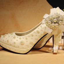 2015 Free Shipping White Wedding Bridal Dress Shoes Comfortable Middle Heel Girl Evening prom Party Dress Shoes