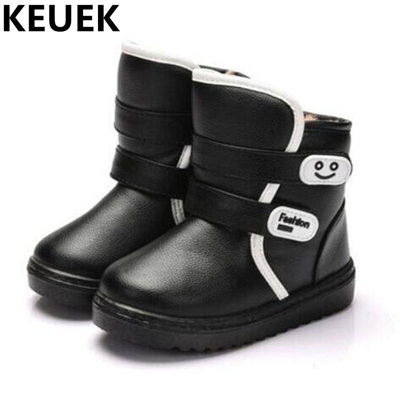 NEW Winter Children Ankle Boots Toddler Baby Leather Boots Boys Girls Snow Boots Kids Thick Plush Student Kids Shoes 044
