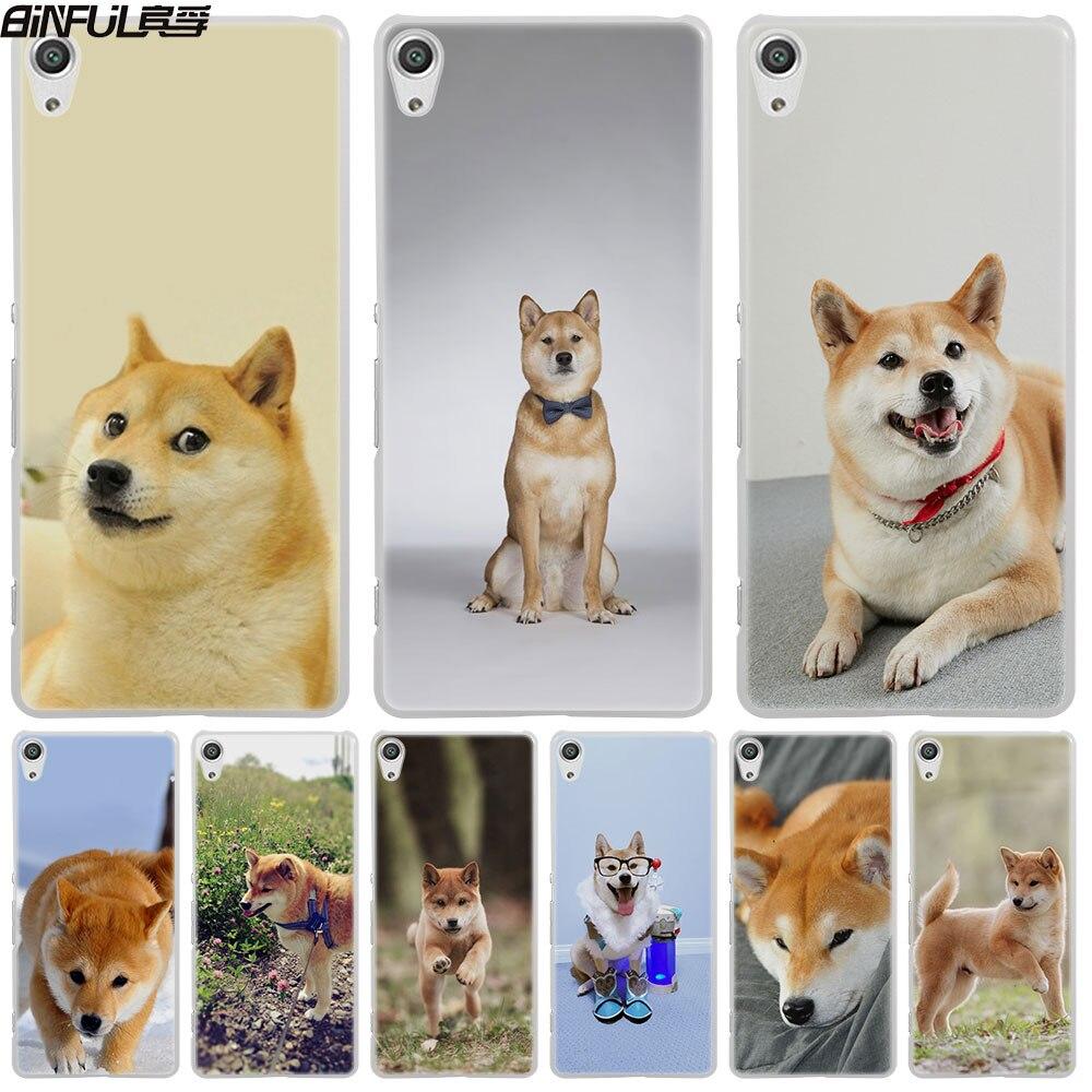 Binful Шиба ину собака кожи жесткий белый чехол для телефона Sony Xperia Z1 Z2 Z3 Z4 Z5 M5 M4 aqua XA 1 E4 E5 C4 C5