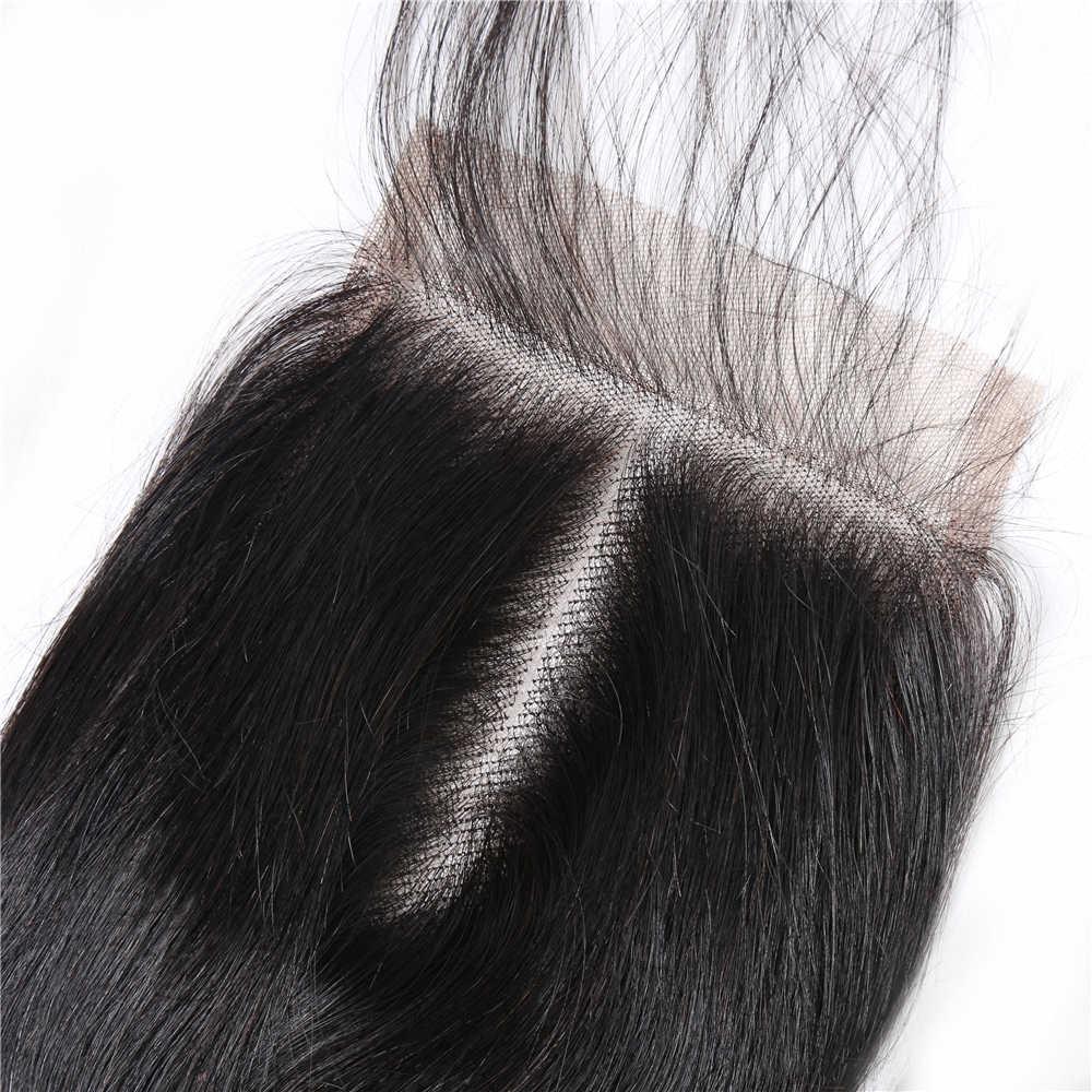 """Alibd 4*4 Ücretsiz Orta Üç Bölüm Dantel Kapatma düz insan saçı Kapatma 8-20 """"Perulu Swiss dantel kapama Ile bebek Saç"""