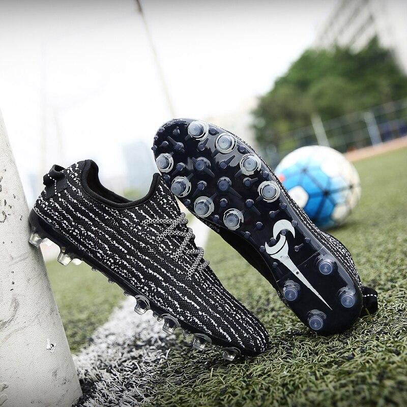 Soccer Shoes Sneakers Fly Weaving Men Soccer Shoes Adults Long Spikes Sport Football Shoe Outdoor Turf Cleats Men Sneakers Futbol Erkek Krampon