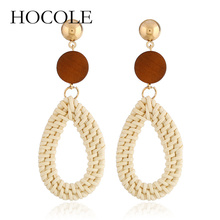 HOCOLE 2018 New Round Wooden Drop Earrings for Women Water Rattan Knit Dangle Handmade Ear Accessories Gift
