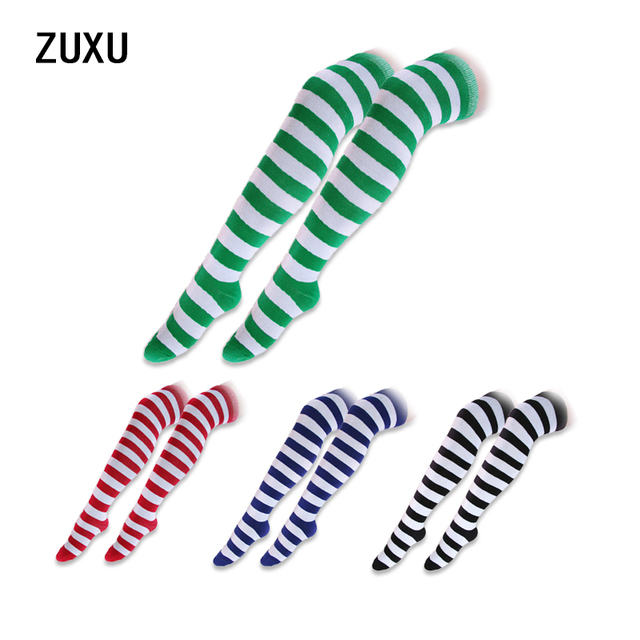 7d0498ca2 Hot New Sexy Women Girl Striped Cotton Thigh High Stocking Over the Knee  Socks Fashion Stockings For Dating Cosplay Cheap Z1