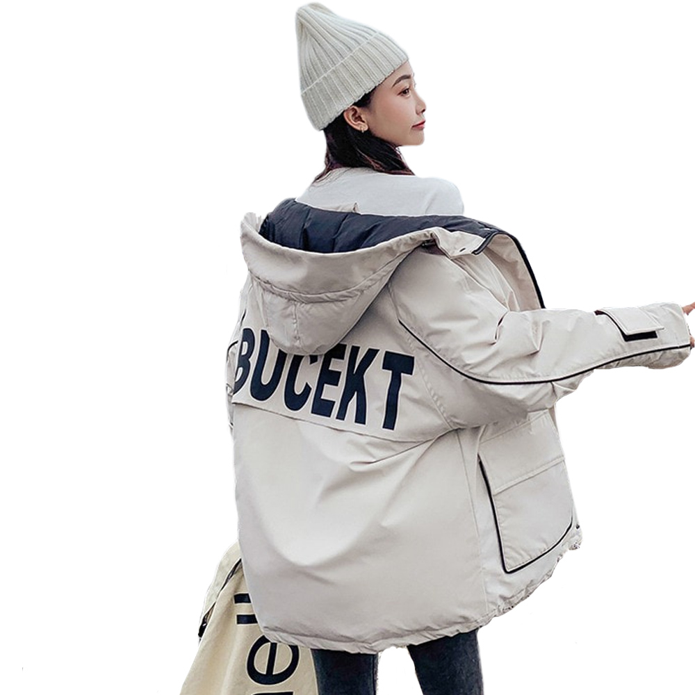 Parka Winter Coat Hooded-Jackets Korean-Hat Short-Style Loose New 823