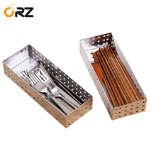 ORZ 2PCS Kitchen Cutlery Tray Holder Tableware Drawer Storage Basket Organizer Spoon Knife Fork Boxes