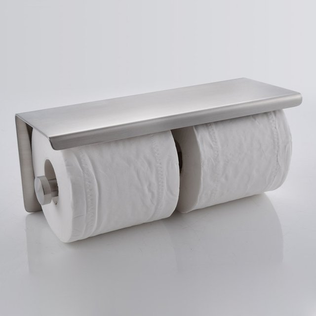 Wall Mount Brushed Stainless Steel Double Roll Toilet Paper Holder Storage Bathroom  Towel Dispenser Tissue Roll