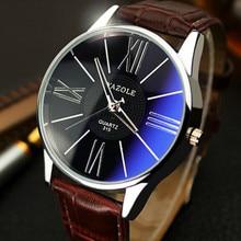купить Fashion Mens Watches Lovers Simple Business Leather Quartz Watch Male Clock Wristwatch Montre Homme Relogio Masculino дешево