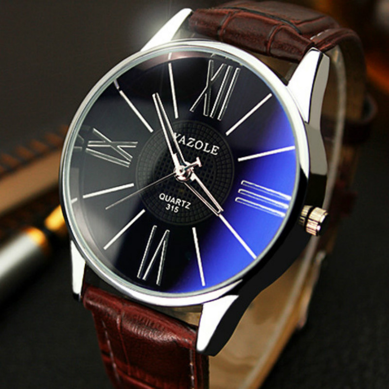 все цены на YAZOLE Fashion Mens Watches Simple Business Quartz Watch Luxury Male Clock Leather Wristwatch Montre Homme Relogio Masculino онлайн