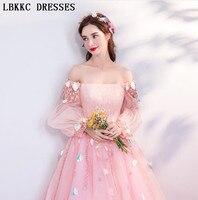 Pink Evening Dresses A Line Off The Shoulder Long Sleeves Floor Length Robe De Soiree 2018 Long Formal Dress