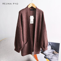 REJINAPYO Women Classic Merino Wool High Quality Solid Knitted Cardigans Ladies Elegant All match Casual Open Stitch Sweater
