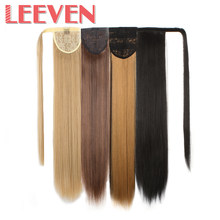 Leeven 24inch ponytail fake hair extensions false pony tail hair hairpieces clip in straight for women High Temperature Fiber(China)