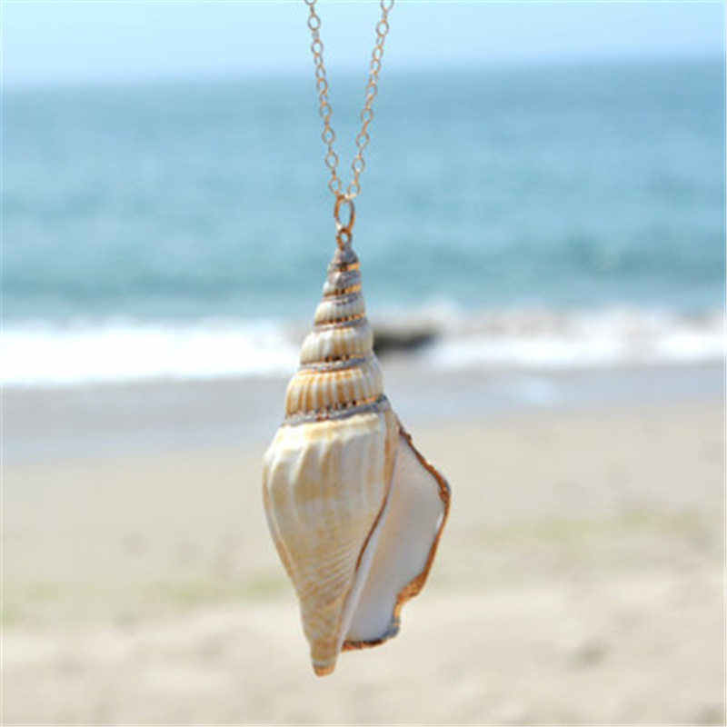 Vintage Fashion Gold Color Conch Shell NEcklace For Women Shape Pendant Simple shell Ocean Beach Boho Jewelry
