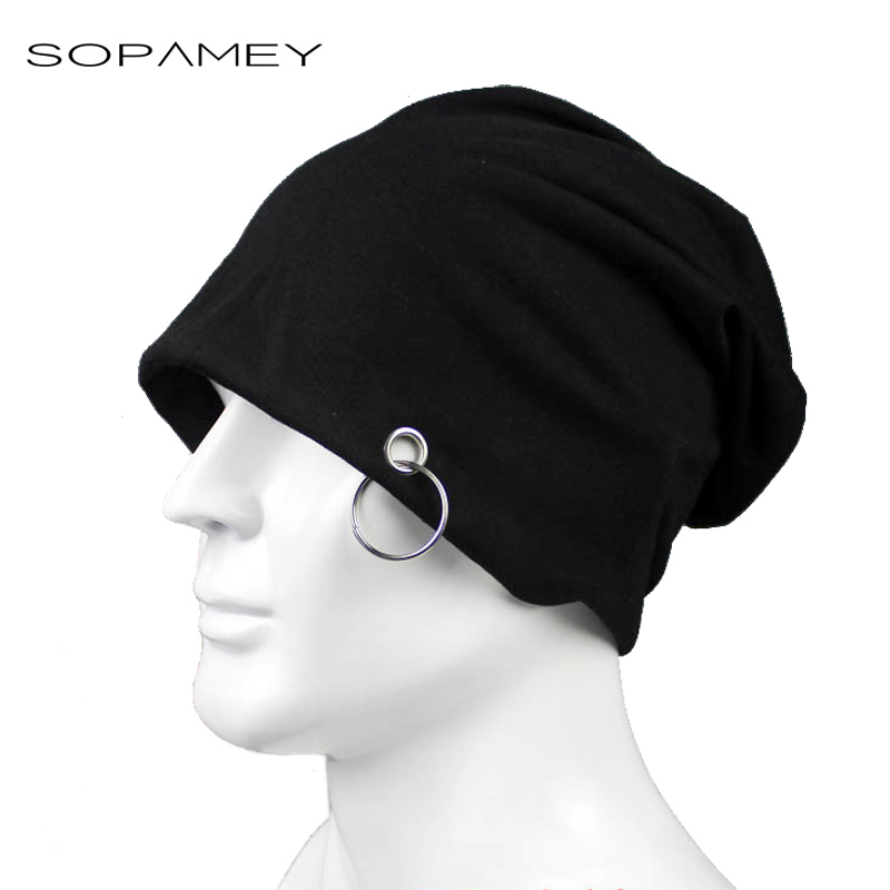 Fashion Autumn Winter Beanie Hats for Women Men Metal Ring Solid And Hoop Design Ladies Thin knitting hat And Beanies Unisex Hat