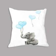 цена на White Elephant Cushion Balloon Cartoon Throw Pillow 45x45cm Nordic Decorative Cushion for Sofa Kids Room Decoration