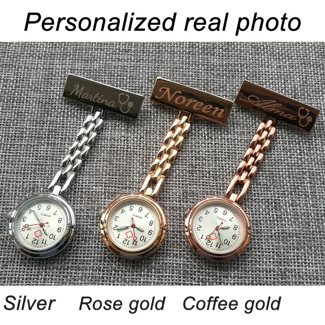 Personalized Customized FREE Engraved With Your Name TOP QUALITY Pin Brooch Stainless Steel Lapel Pocket Watch Fob Nurse Watch 1