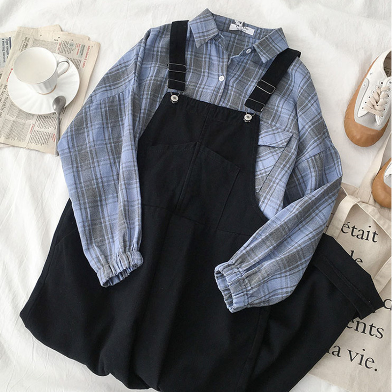 Harajuku Casual Overall Set Women Summer Two Piece Set Fashion Blue Long Sleeve Plaid Blouse + Black Loose Long Pant Summer Set