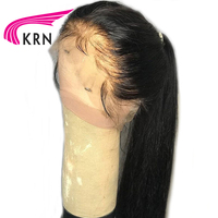 KRN Straight Brazilian Full Lace Wigs With Baby Hair Bleached Knots Remy Hair Pre Plucked Full Lace Human Hair Wigs 130 Density