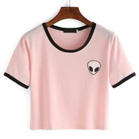 Women Hipster Harajuku Cute Stripe Short Sleeve Cotton Tshirts Crop Top Tee Alien Embroidery T Shirt 2016