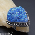 HERMOSA jewelry Upscale charming retro Natural Fancy Blue Titanium 925 Sterling Silver Ring Size10 HF972