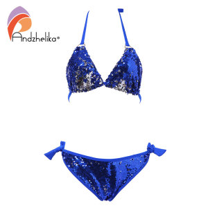 Image 5 - Andzhelika 2020 New Bikini Double sided Sequin Bikini Set Women Sexy Brazilian Swimsuit Beach Swimwear Bathing Suit Biquini