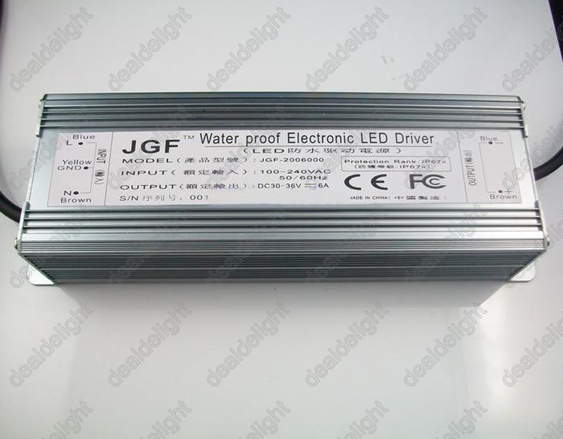IP67 Waterproof 200W Constant Current LED Driver AC100-250V to DC30-36V 6000mA for 200W High Power LED Light 182w led driver dc54v 3 9a high power led driver for flood light street light ip65 constant current drive power supply
