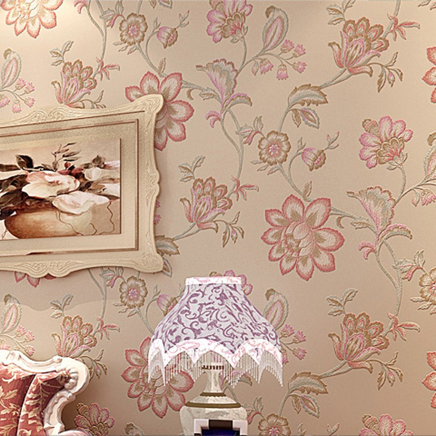 beibehang Rustic rose non-woven flower wall paper roll floral wallpaper for living room bedroom 3D wallpaper parede floral paper rustic wallpaper 3d stereoscopic wallpaper roll non woven pastoral wallpaper for walls bedroom wall paper pink for living room