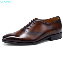 QYFCIOUFU Italian Designer Formal Shoes Men Genuine Leather Oxford Shoe Fashion Black Brown Pointed Toe Brogue Dress