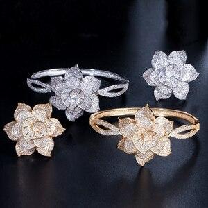 Image 4 - Cwwzircons cor de ouro amarelo coração forma flor nupcial casamento festa cz pulseira pulseiras e anéis conjuntos para noivas jóias t193