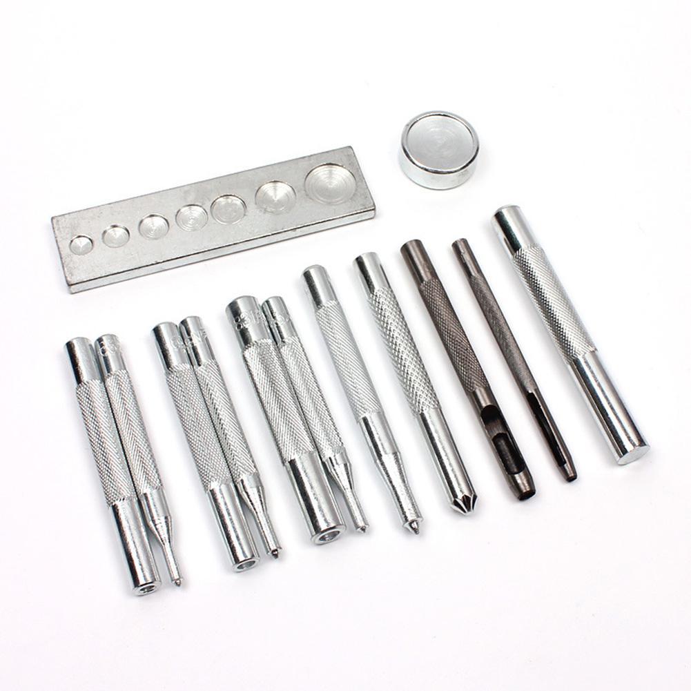 Adeeing 11 шт. удар инструмент оснастки заклепки сеттер Базовый комплект для DIY Кожа Craft Инструменты