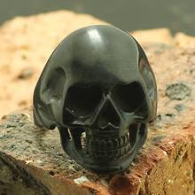 Unisex 316L Stainless Steel Dull Polishing Biker Skull Ring Cool Gift