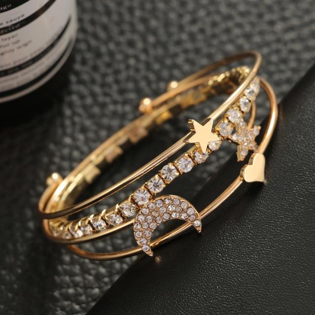 Tocona luxe Boho étoile lune coeur cristal Bracelet ensemble pour femmes breloque or argent couleur multi-étages manchette Bracelet Pulseira 5802