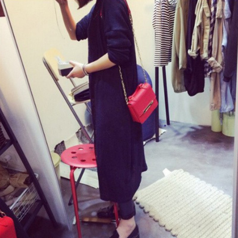 Women Cardigan Casual Sweet Gray Black Crochet Knitted Blouse Long-sleeve Tops Female Long Sweaters Outwear V2 B3