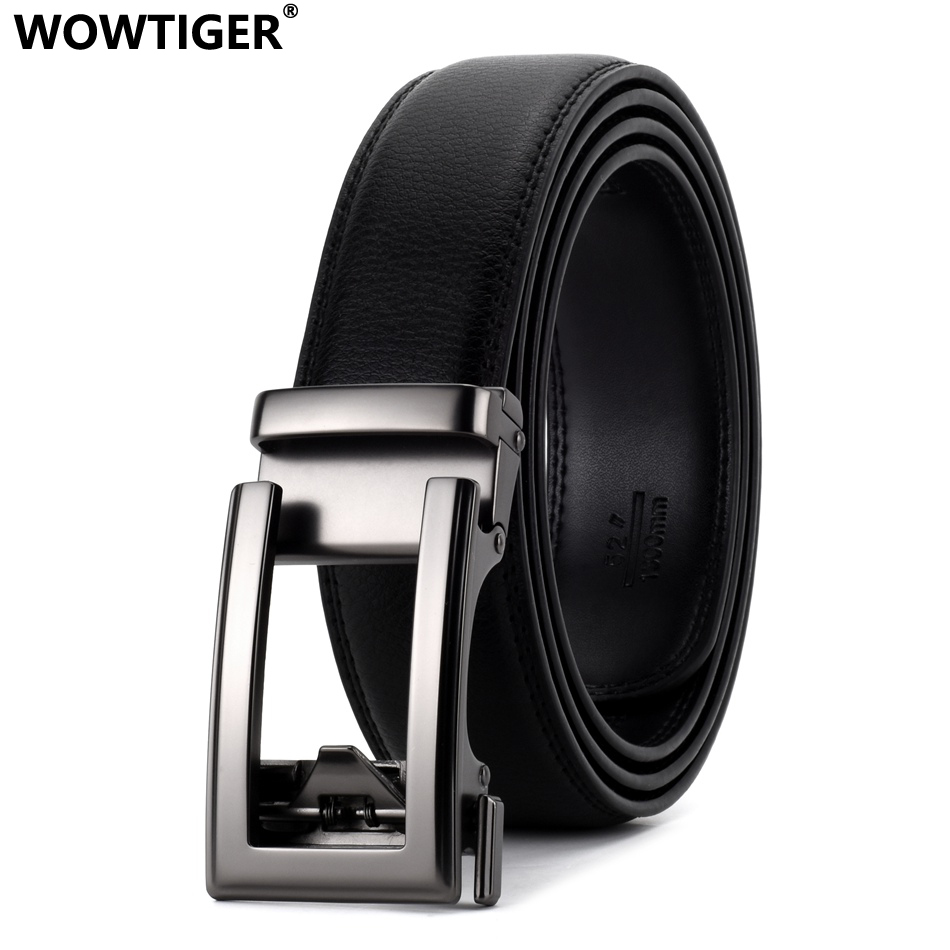 WOWTIGER Black Luxury High Quality Cowhide Leather 35mm Fashion Designer Belts For Men Sliding Automatic Buckle Ratchet Men Belt
