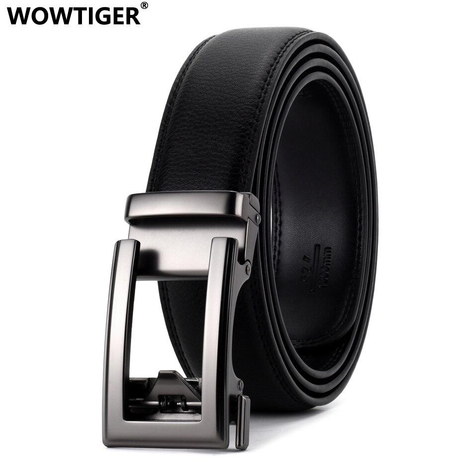 WOWTIGER Black Luxury High Quality Cowhide Leather 35mm Fashion Designer Belts For Men Sliding Automatic Buckle Ratchet Men Belt