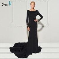 Dressv black long evening dress scoop neck court train long sleeves mermaid wedding party formal dress trumpet evening dresses