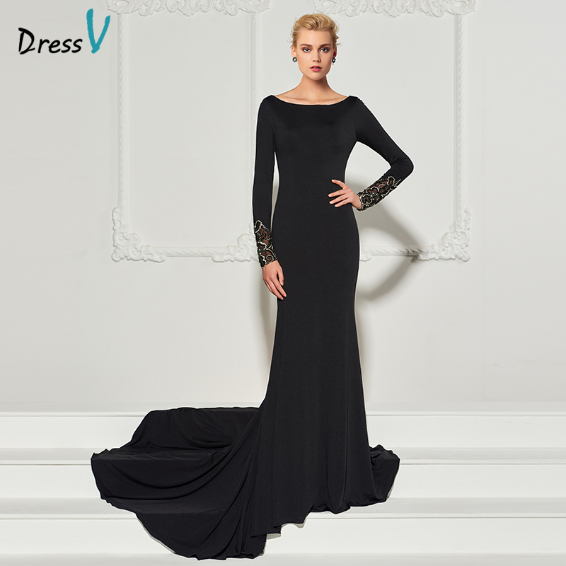Vestido negro largo con mangas