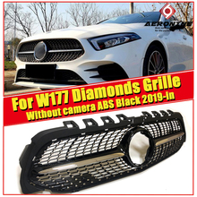 Diamonds style Without Sign W177 Grille ABS Black A180 A200 A250 A45 look Camera Sports Front Bumper grill grille 2019-