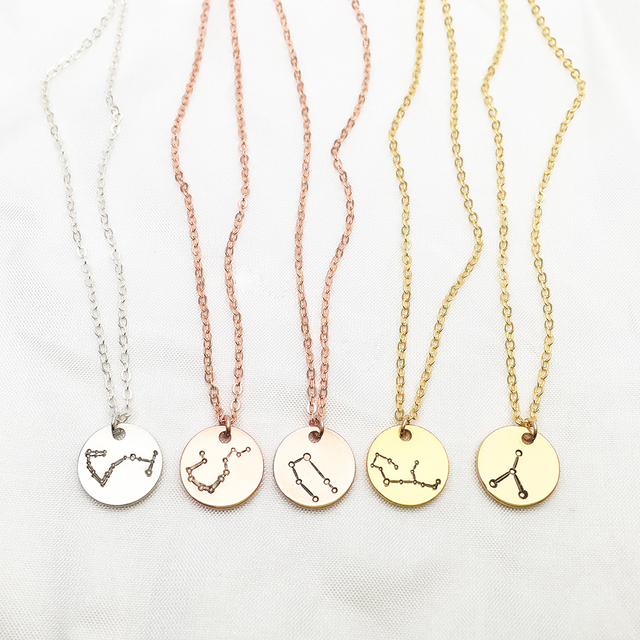 Constellation Necklace Gold Disk Necklace Handmade Custom Coin Choker Pendant Collier Femme Kolye Collares 925 Silver Jewelry