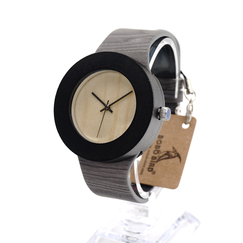 ФОТО BOBO BIRD H09 Wooden Watches for Women Designer Luxury Ebony Wooden Watch with Silver Needles Japanses Movement Quartz Watches