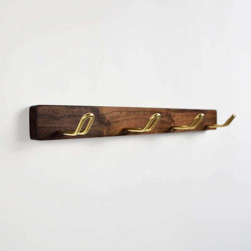 Us 16 8 Black Walnut Solid Wood Hook Wall Long Row Bathroom Coat Cap Br Hanging Rack Towel Hooks In Robe From Home