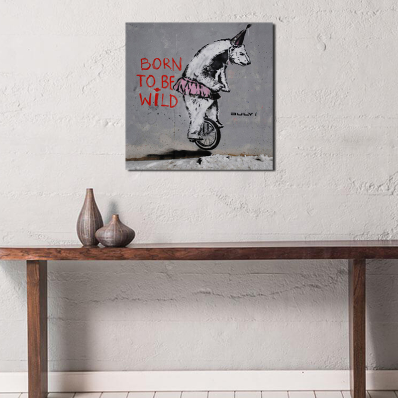 Banksy Born To Be Wild Graffiti HD Canvas Posters Prints Wall Art Oil Painting Decorative Picture Bedroom Modern Home Decoration in Painting Calligraphy from Home Garden