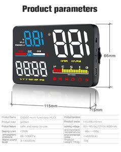 Image 2 - GEYIREN Car HUD D5000 OBD2 Head Up Display Digital Speedometer Windshield Projector Overspeed RPM Water Temperature Alarm