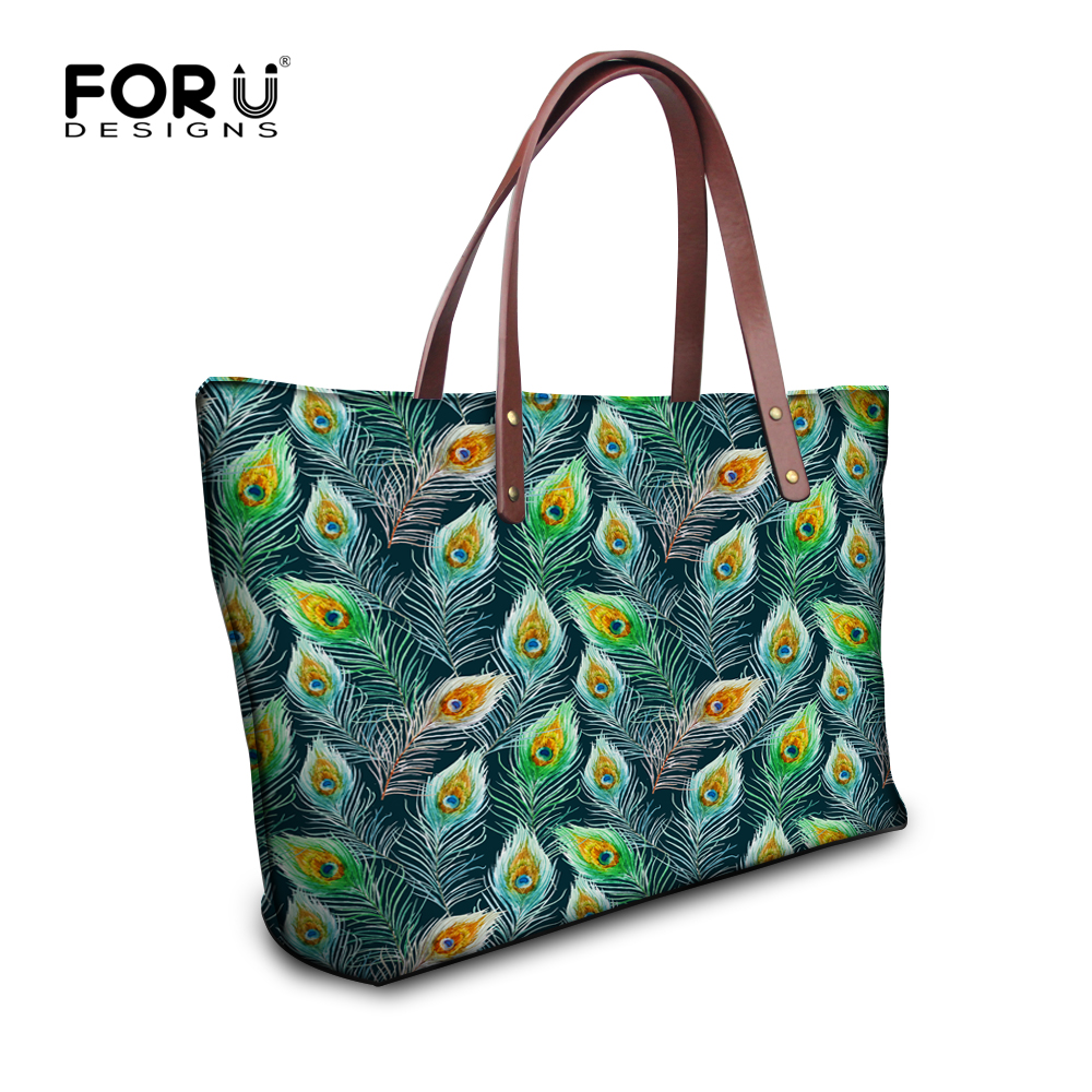 FORUDESIGNS Casual Women Handbags Peacock Feather Printed Shopping Bag Large Capacity Ladies Handbags Vintage Bolsa Feminina forudesigns casual women handbags peacock feather printed shopping bag large capacity ladies handbags vintage bolsa feminina page 7