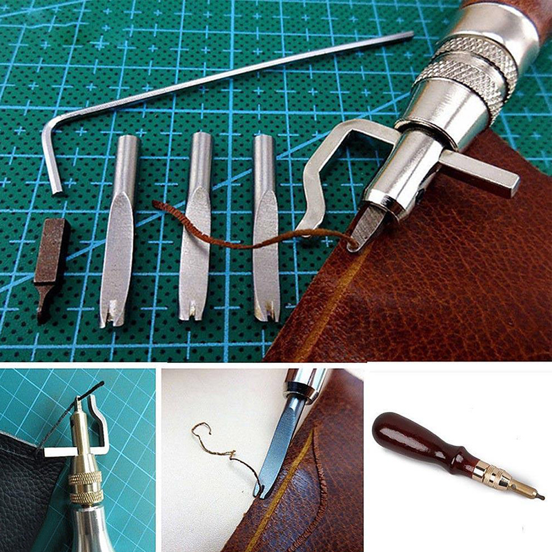 1 Set 5 in 1 Adjustable Leather Edge Stitching Groover Leathercraft Groove Gouge DIY Tool 0 8mm 1mm 1 2mm angle adjustment in Carving from Home Garden