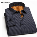 2017 winter men's warm shirt Thick wool in side dress shirt men striped plaid Keep warm Casual  Thermal shirt for man large size
