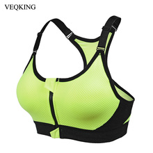 VEQKING Women Sports Fitness Bra,Padded Front Zipper Adjustable Strap Wirefree Shakeproof Athletic Gym Yoga Sports Brassiere Top(China)